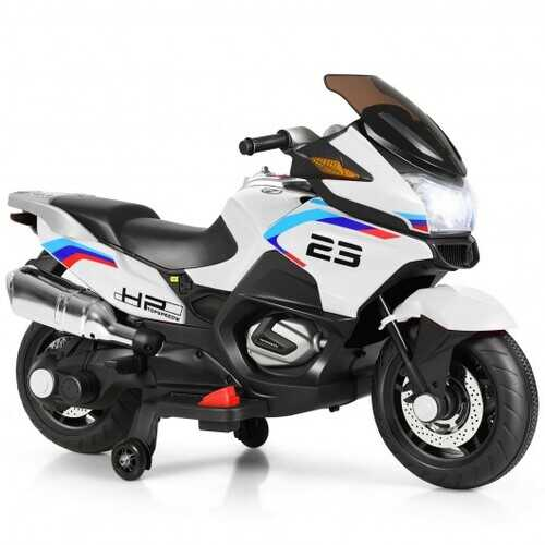 12V Kids Ride On Motorcycle Electric Motor Bike-White