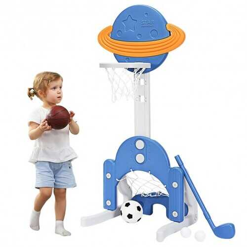 3 in 1 Kids Basketball Hoop Set with Balls-Blue