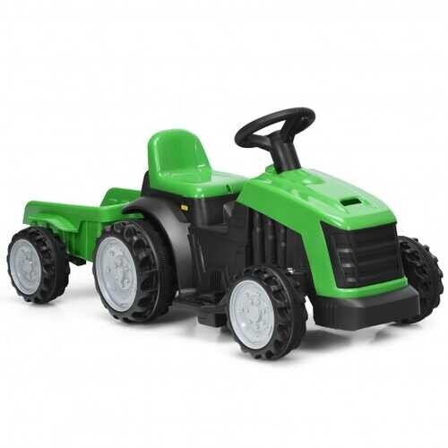 6V Electric Kids Ride On Tractor 6 Wheels Car Toy with Trailer-Green
