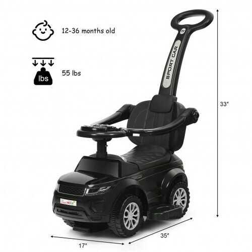 Honey Joy 3 in 1 Ride on Push Car Toddler Stroller Sliding Car with Music-Black