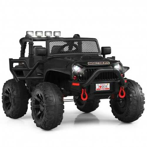 12V Kids Ride On Truck RC Motorized Car with Spring Suspension and MP3 -Black
