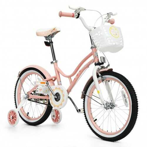 "Babyjoy 18"" Kids Bike Toddlers Adjustable Freestyle Bicycle with Training Wheels-Pink"