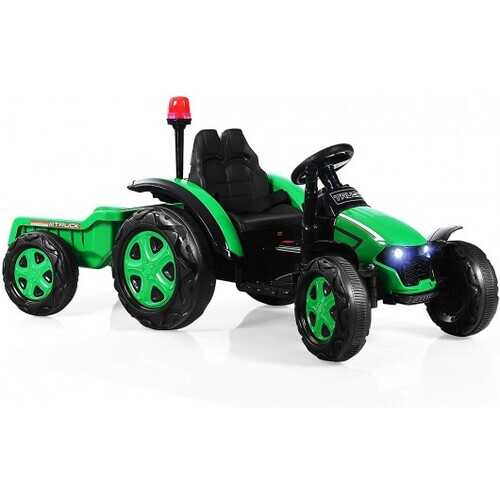 2 in 1 Electric 12V Kids Ride on Car Tractor with Remote Control LED Light Horn-Green