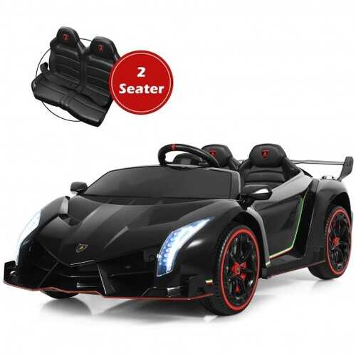12V 2-Seater Licensed Lamborghini Kids Ride On Car with RC and Swing Function-Black