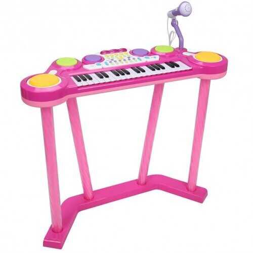 Kids 37 Key Electronic Keyboard Musical Piano w/ Microphone-Pink