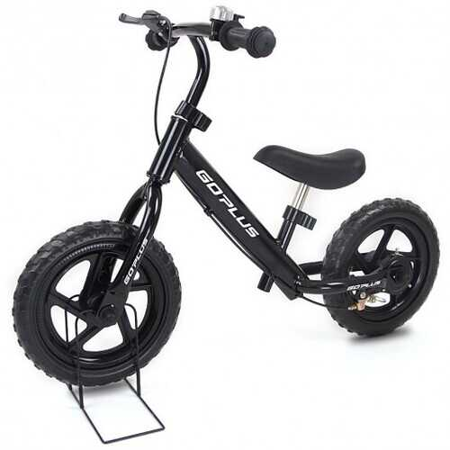 """12"""" Four Colors Kids Balance Bike Scooter with Brakes and Bell-Black"""