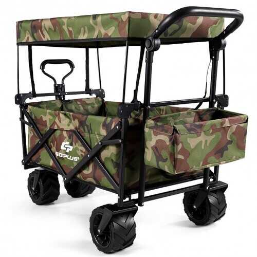 Collapsible Garden Folding Wagon Cart with Canopy-Camouflage