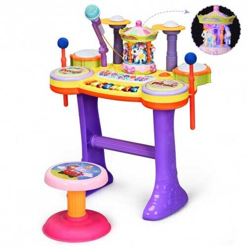 3-in-1 Kid Piano Keyboard Drum Set with Carousel Music Box