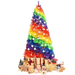 Category: Dropship Seasonal, SKU #CM22830, Title: 7 ft Artificial Hinged Traditional Christmas Tree with Metal Stand