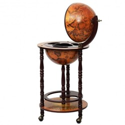 Category: Dropship Wine Making, SKU #HW47195, Title: 16th Century Wood Globe Wine Bar Stand