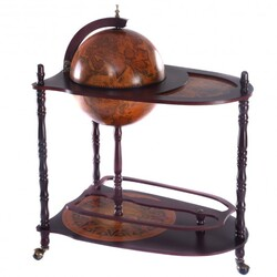 Category: Dropship Wine Making, SKU #HW51940, Title: Vintage Globe Wine Stand Bottle Rack with Extra Shelf