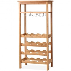 Category: Dropship Wine Making, SKU #HW59431, Title: 16 Bottles Bamboo Storage Wine Rack with Glass Hanger