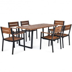 Category: Dropship Patio, Lawn & Garden, SKU #HW65220+, Title: 7 Pcs Outdoor Patio Dining Table Set with Hole
