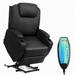 Category: Dropship Massage & Relaxation, SKU #HW65408, Title: Electric Lift Power Recliner Heated Vibration Massage Chair-Black