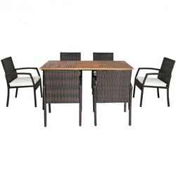 Category: Dropship Gardening, SKU #HW65409COLOR+, Title: 7PCS Patio Rattan Cushioned Dining Set with Umbrella Hole
