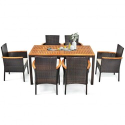 Category: Dropship Patio, Lawn & Garden, SKU #HW66538+, Title: 7 Pieces Patio Rattan Dining Set with Armrest Cushioned Chair and Wooden Tabletop