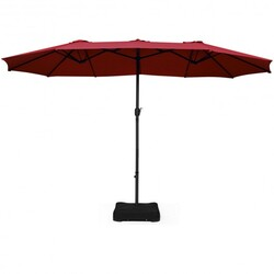 Category: Dropship Accessories, SKU #OP70097, Title: 15 Ft Patio Umbrella Outdoor Umbrella with Crank and Base-Burgundy