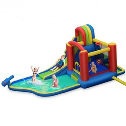 Category: Dropship Toys And Games, SKU #OP70103, Title: Inflatable Kid Bounce House Slide Climbing Splash Park Pool Jumping Castle