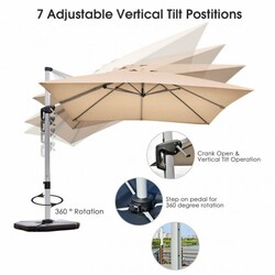 Category: Dropship Accessories, SKU #OP70233, Title: 10 ft 360 Degree Tilt Aluminum Square Patio Offset Cantilever Umbrella without Weight Base