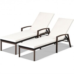 Category: Dropship Pool And Spa, SKU #OP70262color, Title: 2 pcs Patio Rattan Adjustable Back Lounge Chair