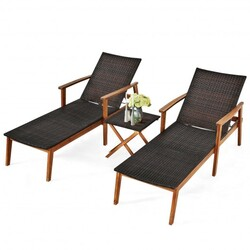 Category: Dropship Patio, Lawn & Garden, SKU #OP70651, Title: 3 Pcs Patio Wooden Frame Rattan Lounge Chaise Chair Set with Folding Table