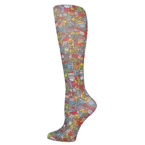 Blue Jay Fashion Socks (pr) Christmas Celebration 8-15mmHg