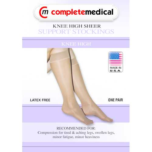 Ladies' Sheer Firm Support  Lg 20-30mmHg  Knee Highs  Beige