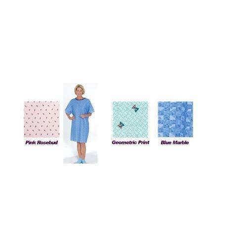 Tie-Back Adult Gown Pink Rosebud Print