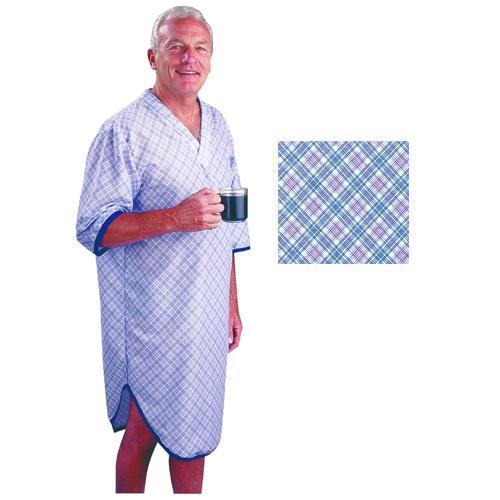 Sleep Shirt Patient Gown-Men Large-Extra Large  Blue Plaid