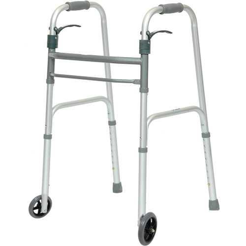 Folding Walker Trigger Release w/ 5  Wheels  Adult