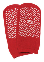 Slipper Socks; Small  Red Pair Child Size 4-6