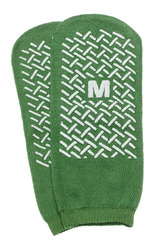 Slipper Socks; Med Green Pair Men's 5-6  Wms 6-7 Child 7-11