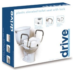 Raised Toilet Seat With Lock & Alum Removeable Arms
