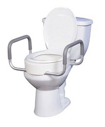 Elevated Toilet Seat w/Arms For Elongated Toilets T/F