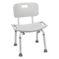 Deluxe Aluminum Bath Chair With Back Gray  (Each)