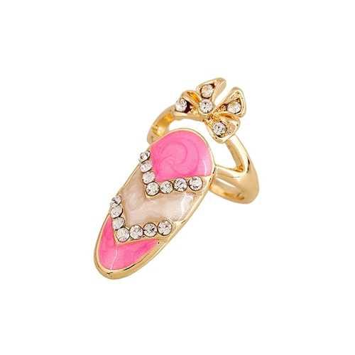 European Cute Finger Ring Inlay Rhinestone Bowknot Nail Ring