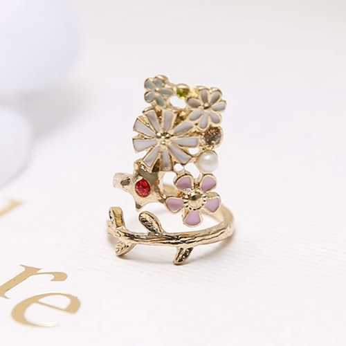 Gold Plated Women Jewelry Flower Cute Cat Pearl Nail Ring