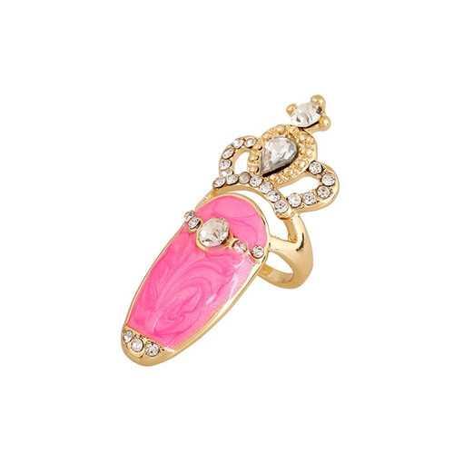 European Sweet Inlay Rhinestone Crown Fingernail Ring