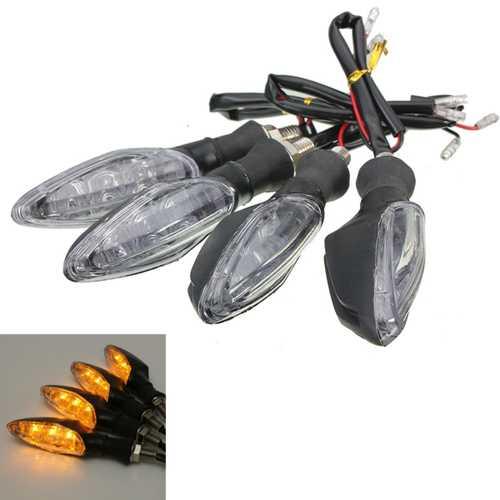 4pcs 12V Universal Motorcycle Bike 3 LED Blinker Turn Signal Indicator Light Lamp