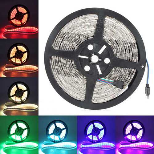 5M 5050 SMD RGB 300 LED Strip Light Waterproof IP65 Flexible Tape Lamp for Outdoor Use 12VDC