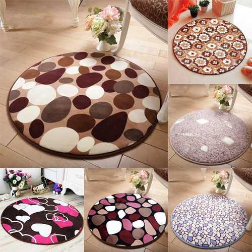 60x60cm Coral Velvet Bathroom Absorbent Carpet Anti Slip Round Mat Rug