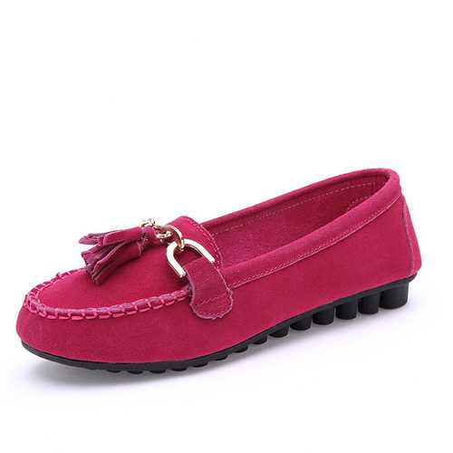 Autumn Women Flat Shoes Tassel Round Toe Flats Soft Sole Flat Loafers