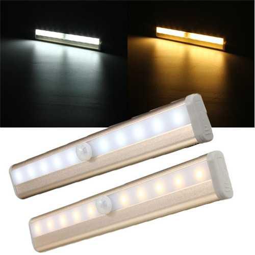 10 LED Cabinet Light PIR Human Body Motion Sensor Lamp Cupboard Closet LED Night Light LED Strip Light 6V