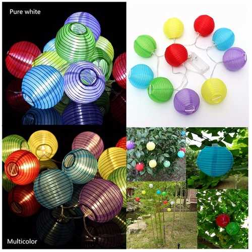 1.2M 10 LED Lantern String Fairy Light Wedding Garden Xmas Outdoor Decoration