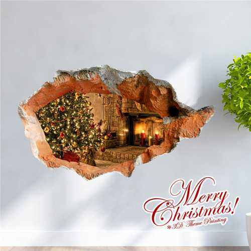 3D Christmas Tree Stove PAG STICKER Wall Decals Sticker Home 3D Wall Hole Decor Gift
