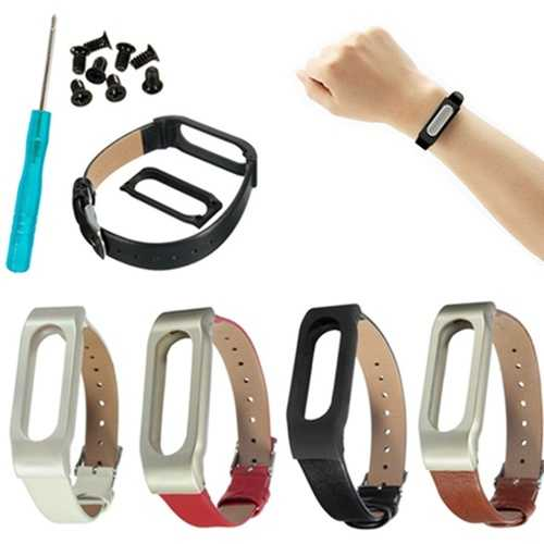 Leather Bracelet Replacement for Xiaomi MiBand Wrist Strap Smartband + Tools