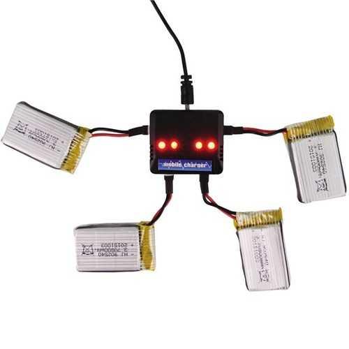 4Pcs 3.7V 800MAH Battery And Charger For Eachine E30 E30W Syma X5C-1 X5SC X5SW M68 CX30 U816A WLtoys V929