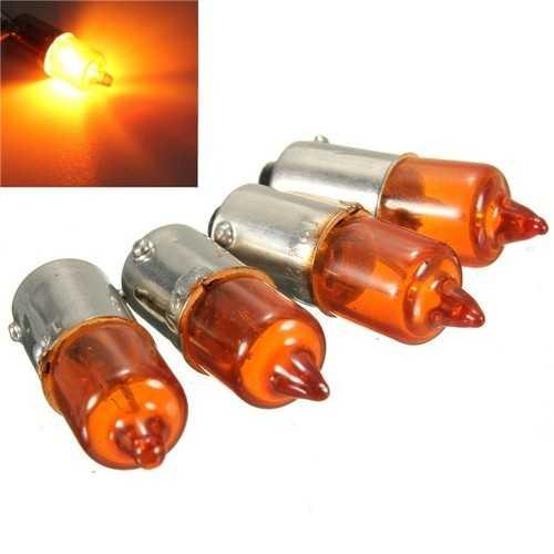 4pcs 12V 23w Motorcycle Turn Singal Indicator Bulb BA9S Base Mini Amber Halogen Lights
