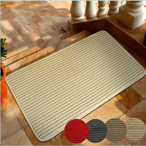 60x40cm Bathroom Absorbent Anti Slip Floor Mat Linen Carpet Stripe Rug