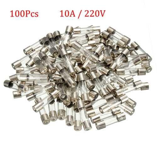100 pcs 10A 250V Fuses  5*20mm Fast-Blow Glass Tube Fuse